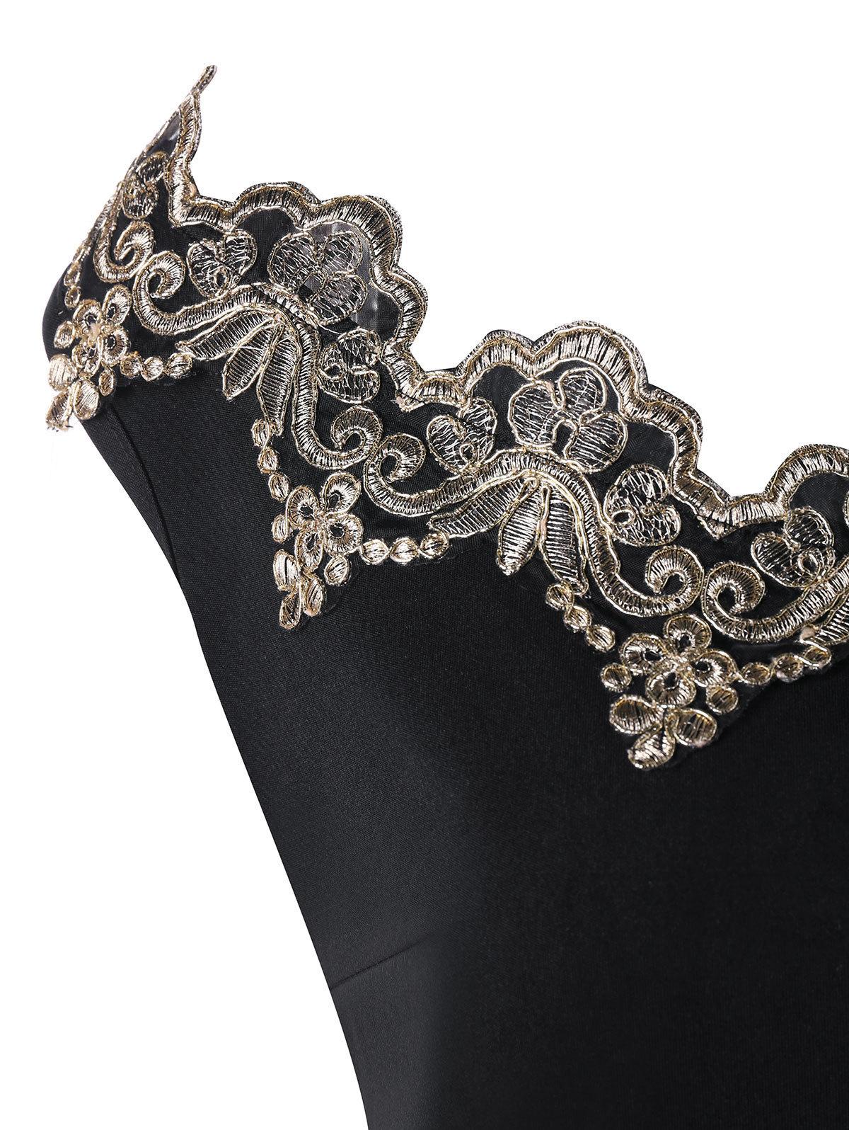 Gamiss Summer Women Dresses Plus Size 5xl Flower Embroidered Trim Bodycon Dress Robe Office Ladies Boat Neck Sleeveless Vestido Q190506