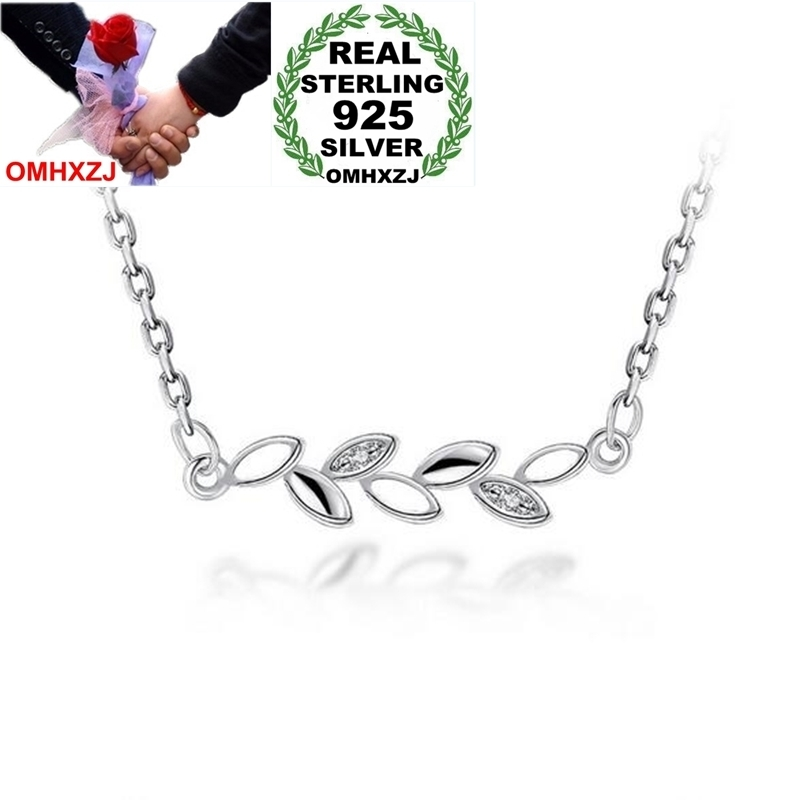 OMHXZJ Wholesale Fashion Woman Girl Gift Olive Branch Leaves 18 inch 925 Sterling Silver Twisted Chains Pendant Necklaces NK18