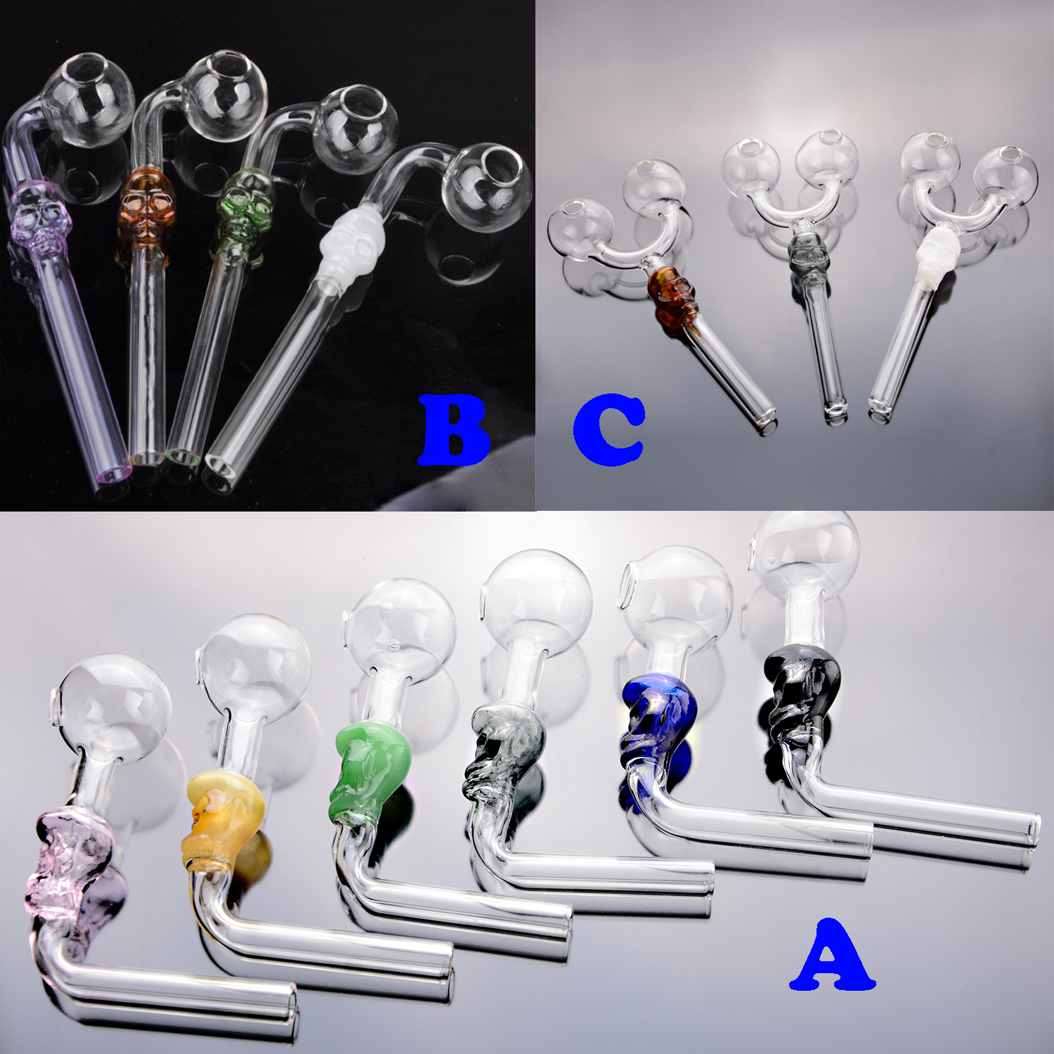 """4/"""" Tobacco Smoking Pipe Skull Face Blown Glass Choose from Multiple Colors"""