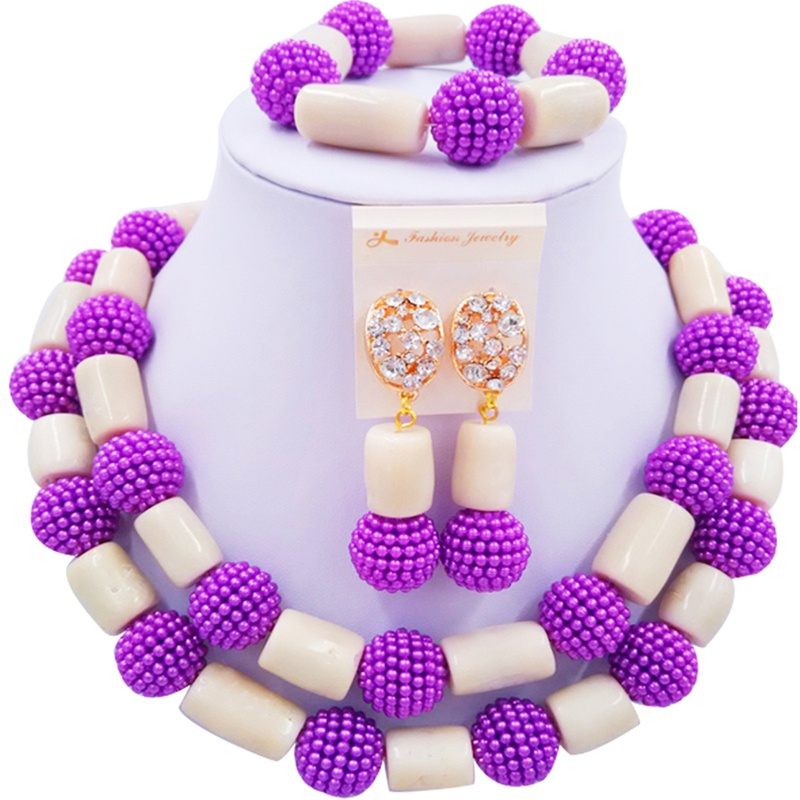 Jewelry Sets Purple and Beige