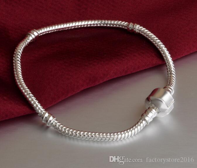 Factory Wholesale 925 Sterling Silver Bracelets 3mm Snake Chain Fit Pandora Charm Bead Bangle Bracelet Jewelry Gift For Men Women