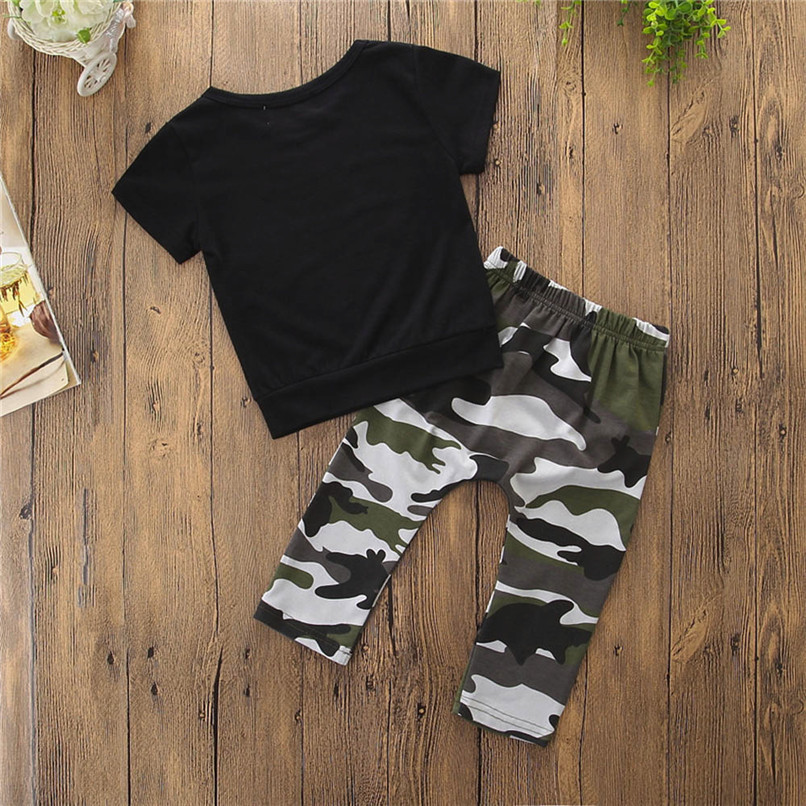 2PCS Baby Boys Sets Toddler Kids Baby Boys Short Sleeve Letter T-shirt Tops+Camouflage Pants Set Baby Boy Clothes M8Y18 (8)