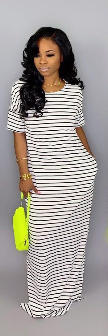 2019 Womens Round Neck Short Sleeve Striped Maxi Dress Scoop Neck Party Beach Sundress Loose Long Dresses Elegant Evening Dress With Pocket