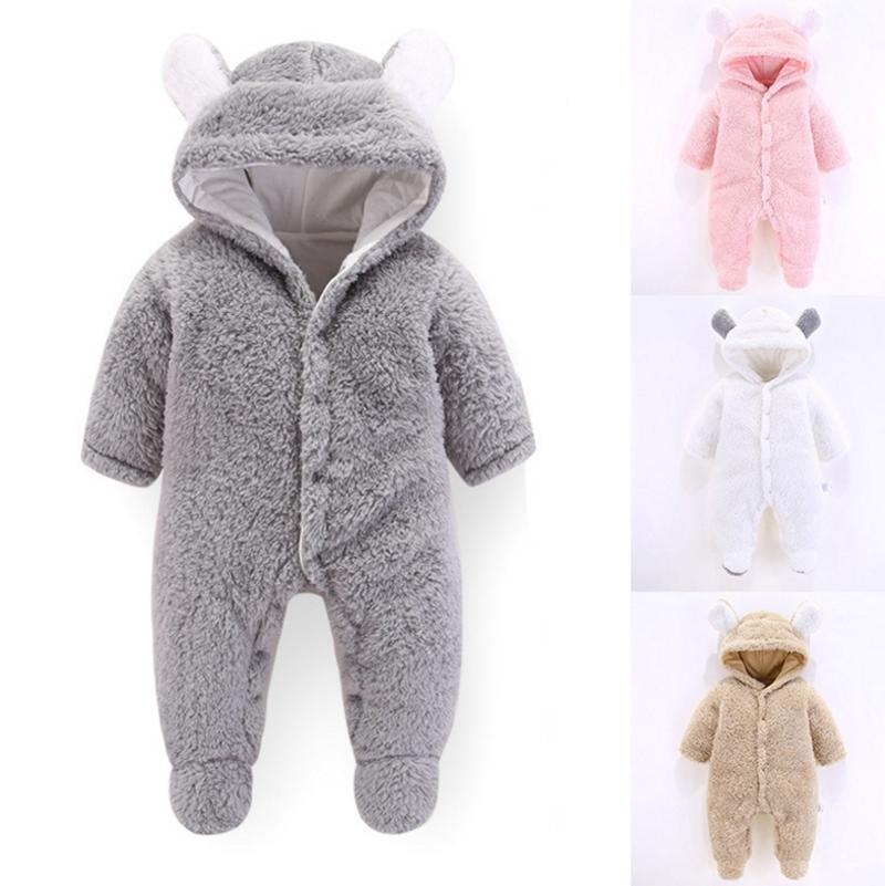 Newborn Baby Snowsuits Down Suit Winter Bear Jumpsuit Rompers Hooded Girls Boys Jacket Jumper
