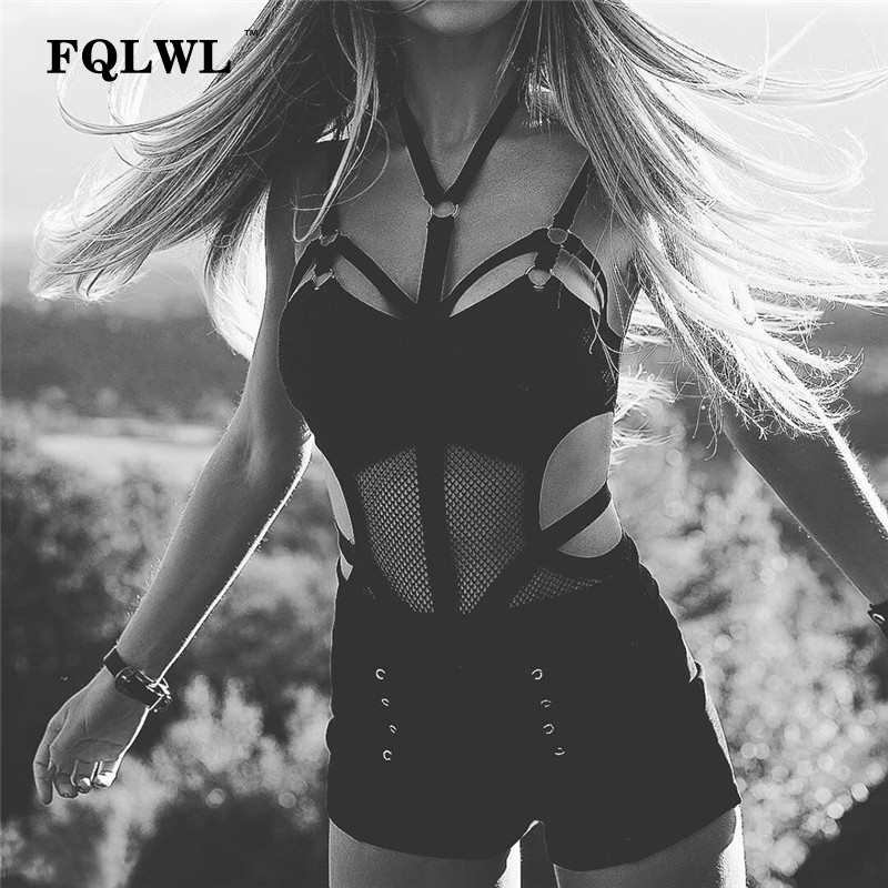 FQLWL Transparent Bodycon Mesh Bodysuit Sexy Halter Neck Black Top Femme Backless Bandage Rompers Womens Jumpsuit Summer Overall Y190424