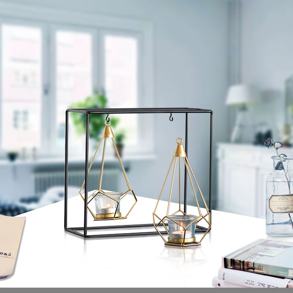 Nordic Style Geometric Design Gold Glass Iron Candle Holder Candlestick For Cup Candles Home Wedding Decoration Accessories Q190611