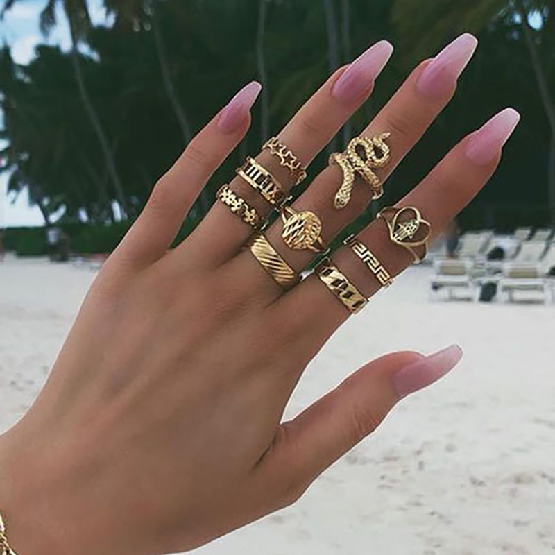Fall In Love 2019 New Gothic Punk Animal Snake Rings for Women Ladies Vintage Antique Silver Color Midi Knuckle Rings Anillos Mujer,8