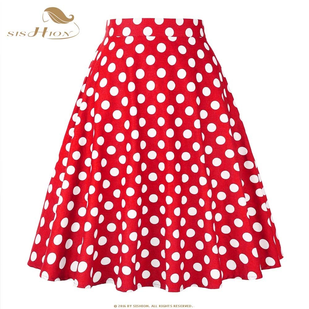 Sishion Women Rock Blue Red Black White Polka Dot High Waist Vintage Skater Faldas Muji Plus Size School Short Rock Vd0020 Y19071301
