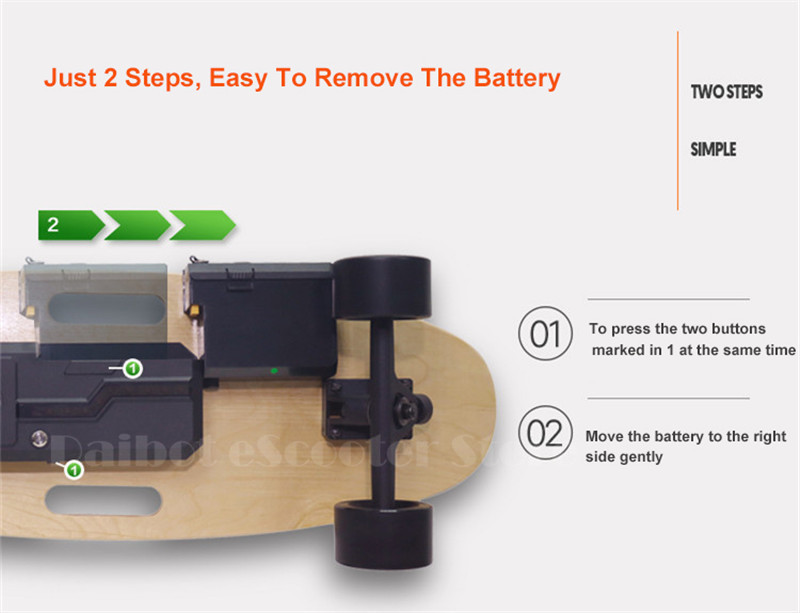 Daibot Portable Electric Scooter 4 Wheel Electric Scooters Removable Battery Dual Hub Motor Wheel Longboard Electric Skateboard (24)