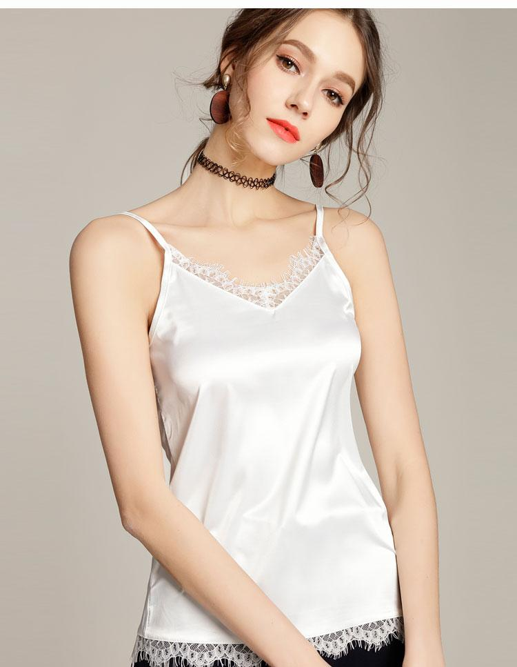 Summer Silk Tank Top 2017 Women Sexy V Neck Sleeveless Basic Tops Blusas Casual Womens Vest Lace Camisole Crop Tops For Lady5