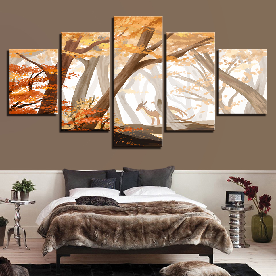 Canvas Wall Art Poster Home Framework Forest Maple Trees Dinosaur Paintings HD Prints Anime Pictures Living Room Decor