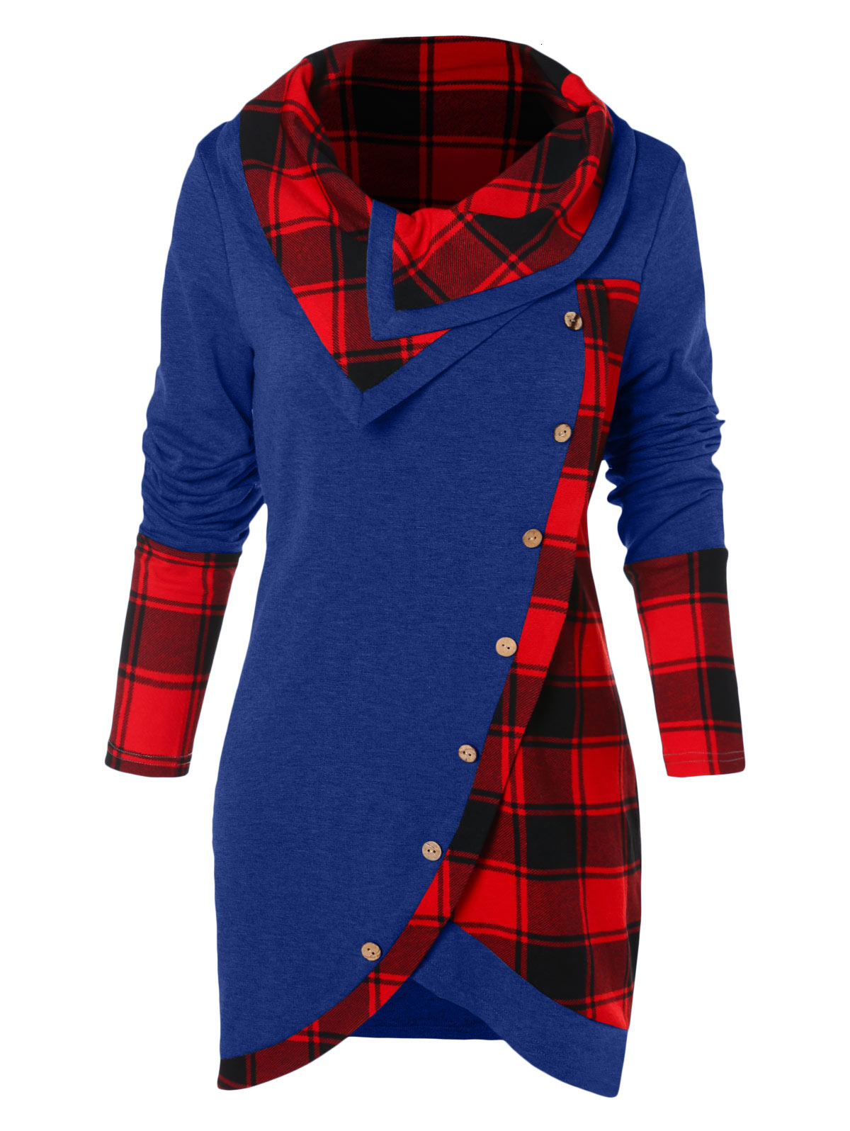Women Clothes Women Shirts Plus Size Women T Shirt Casual Panel Long Sleeve Asymmetrical T Shirts Ladies Plaid Tops Tees Female Autumn