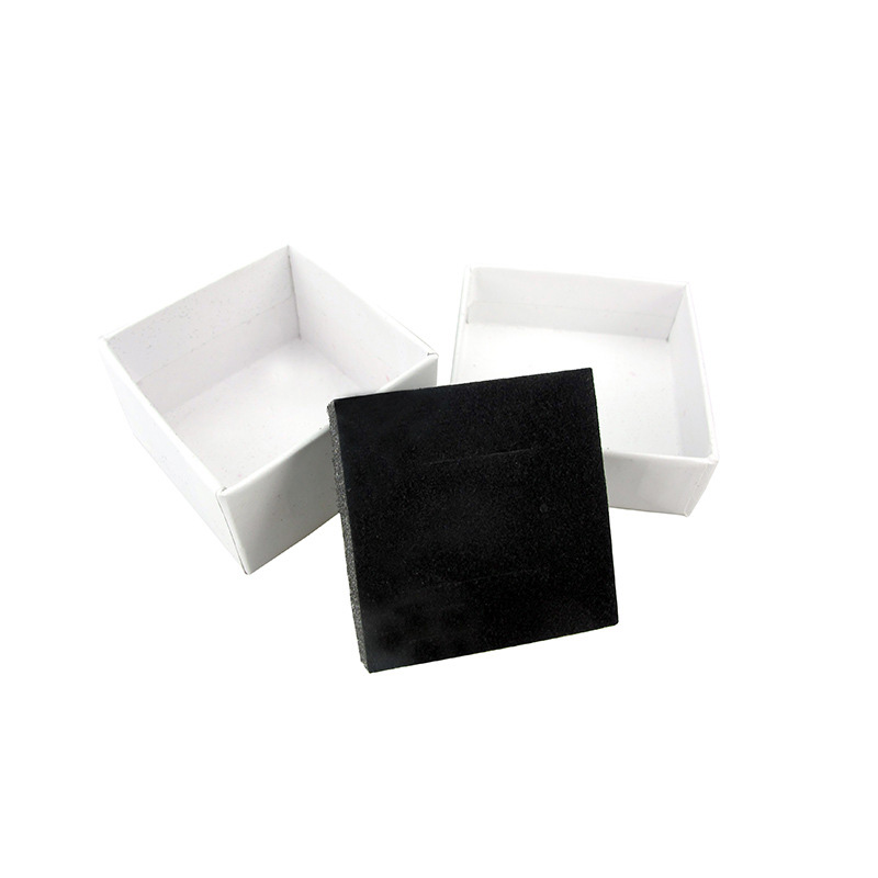 Ring Boxes for Jewellery 5*5*3cm White Paper Jewelry Display Box Ring Earrings Gift Packaging Black Sponge Can Custom Logo