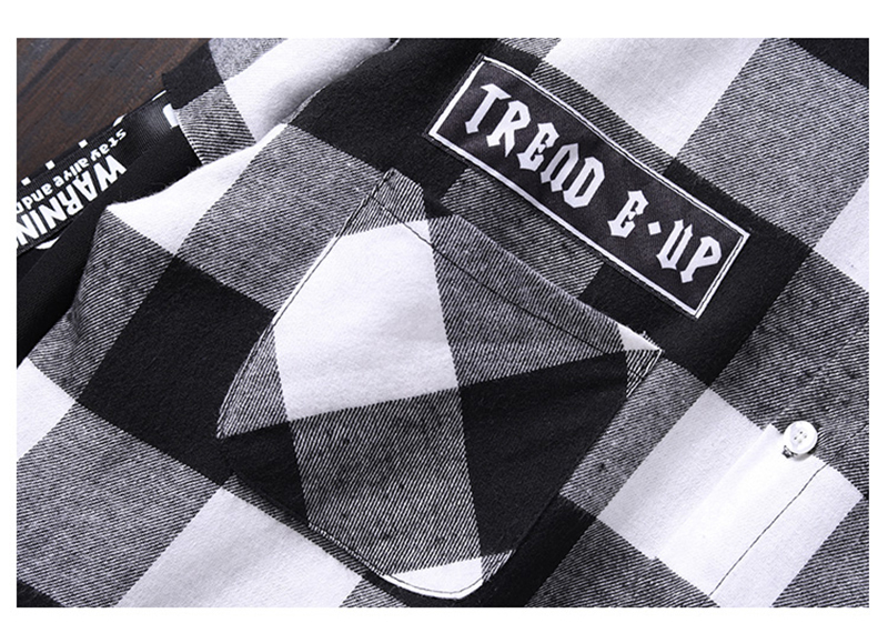 Red And Black Plaid Patchwork Shirt Men (22)