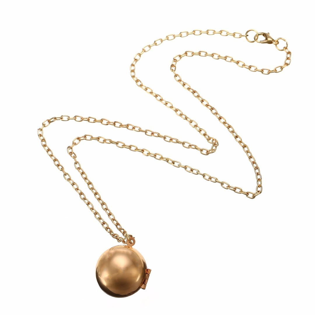 Charm Vintage lady Secret Message Ball Locket Silver Gold Pendant Necklace Jewelry Make A Love Confession Sweater Necklace Gift