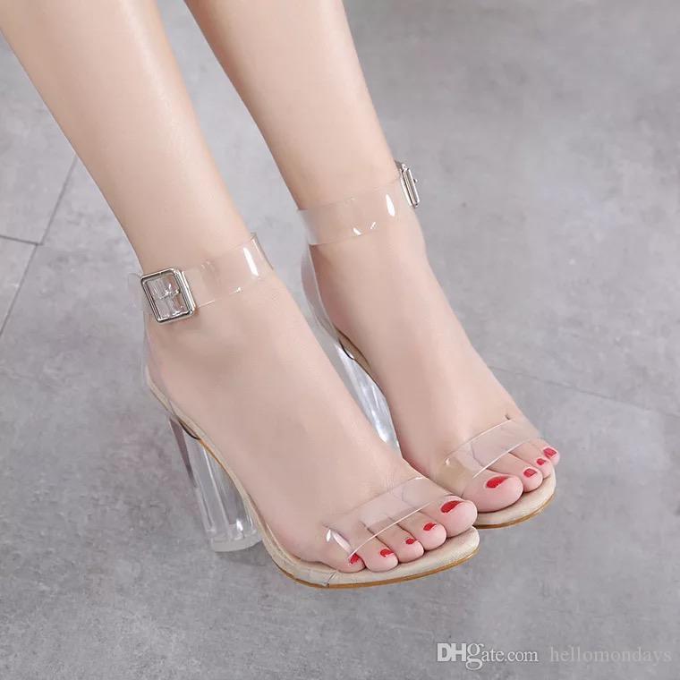 Women's Lucite Clear Dress Sandal Strappy Block Chunky Clear PVC High Heel Open Peep Toe Sandal