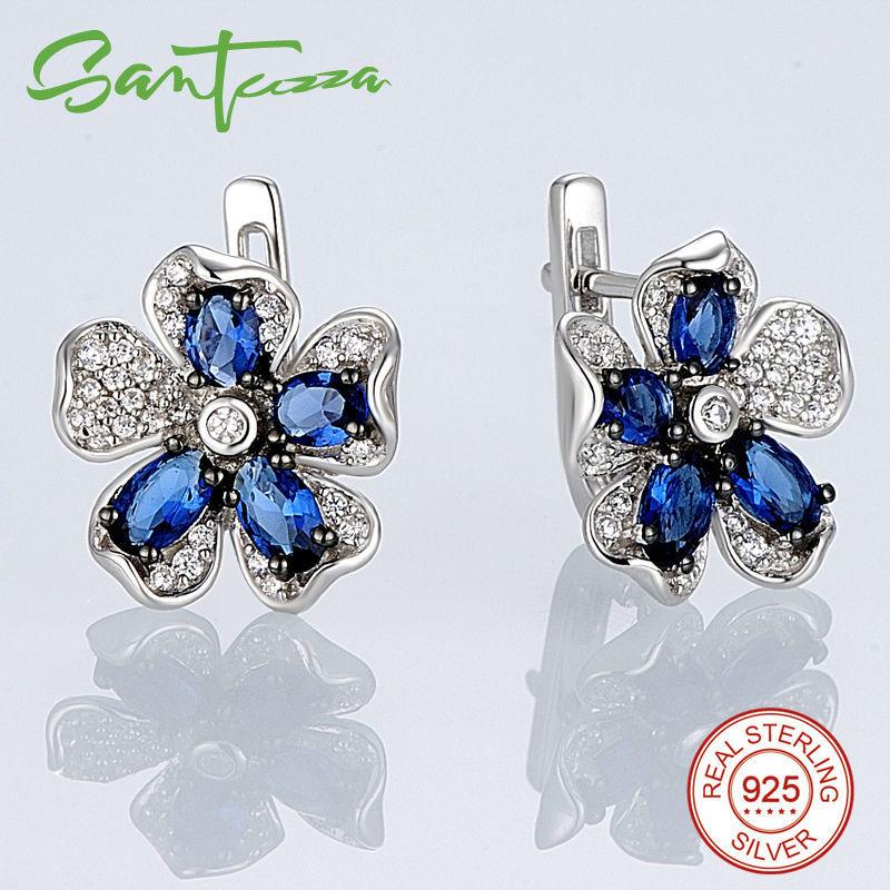 Silver Earrings-E303513BLGZSK925-SV1-W