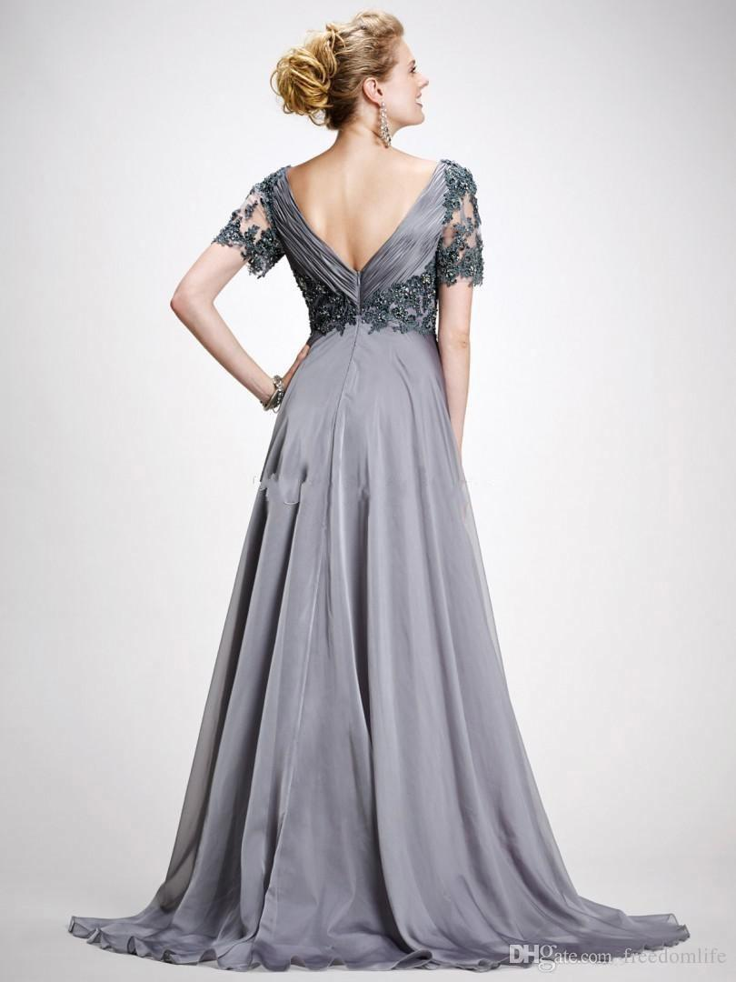 Mdest Silver Gray Long Prom Dresses V Neck Short Sleeves Pleated Appliques Chiffon Plus Size Backless Mother Of The Bride Dress Evening Wear