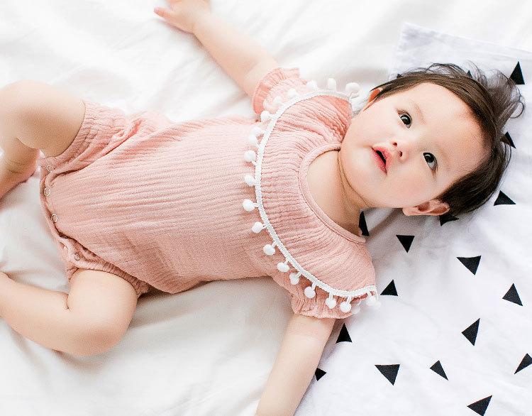 Cute Newborn Baby Girl Romper 2017 Summer short sleeve Princess fur ball Sunsuit One Pieces Tassel Clothes free drop shipping (13)