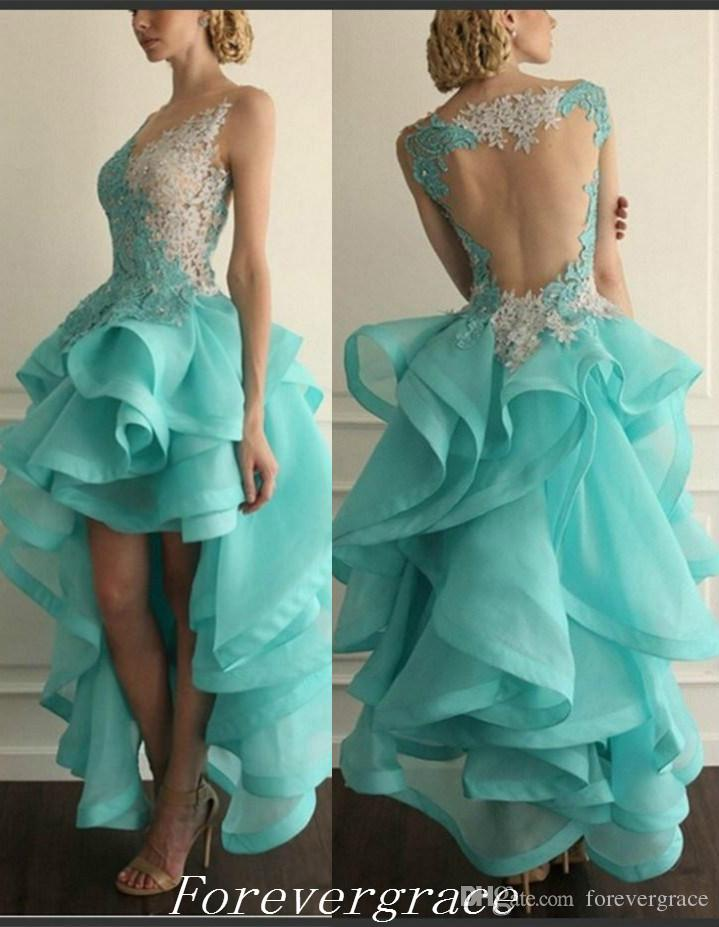 Sexy Mint Green Colour Evening Dress New Organza Ruffles High Low Sheer Back Pageant Wear Party Gown Custom Made Plus Size