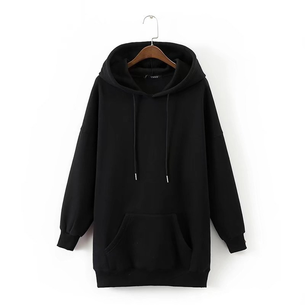 Black Women Sweatshirts Hooded Hoodies Women Harajuku Casual Female Hoodies Loose Pockets Winter Autumn Tops Plus Size Hoodies