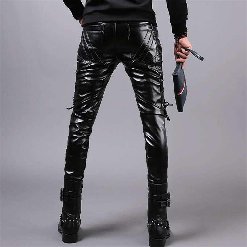 Moruancle New Winter Mens Skinny Biker Leather Pants Fashion Faux Leather Motorcycle Trousers For Male Stage Club Wear T2190617