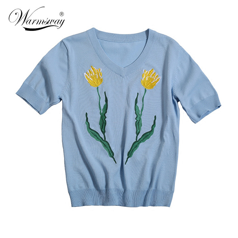 2018 High Quality Yellow Flowers and Leaves Embroidery T-shirt Lolita Summer Women Pullover Knit Jumper Runway B-088
