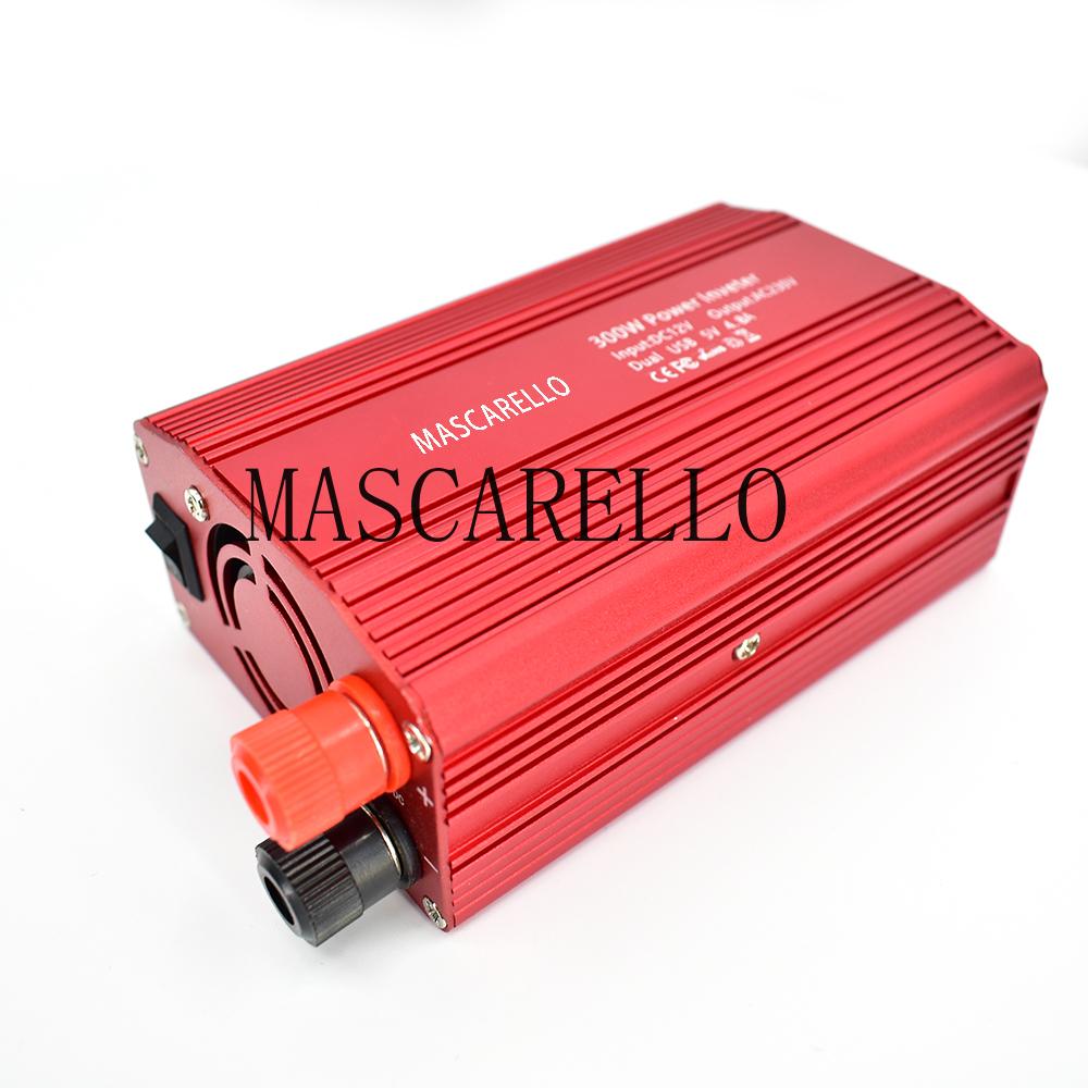 500W DC a AC Convertidor de Corriente DC 12V a 110V 220V AC Inversor autom/ático de autom/óviles Transformador con Adaptador de Coche USB Doble Rojo