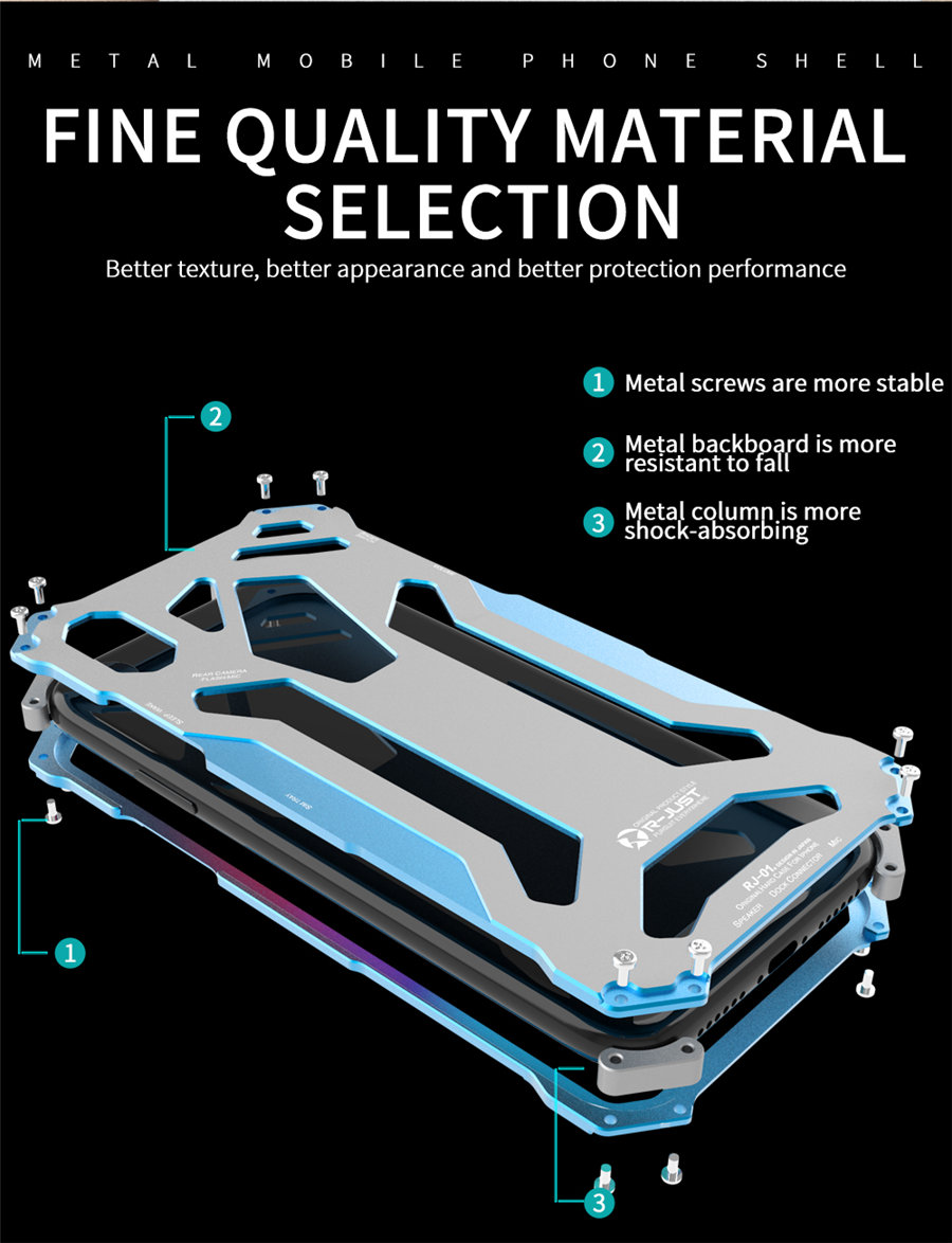 Cool Metal Phone Case For iPhone XS Max Case Cover For iPhone XS R-JUST Gundam Aluminum Case Coque Capa Funda For iPhone XR (6)