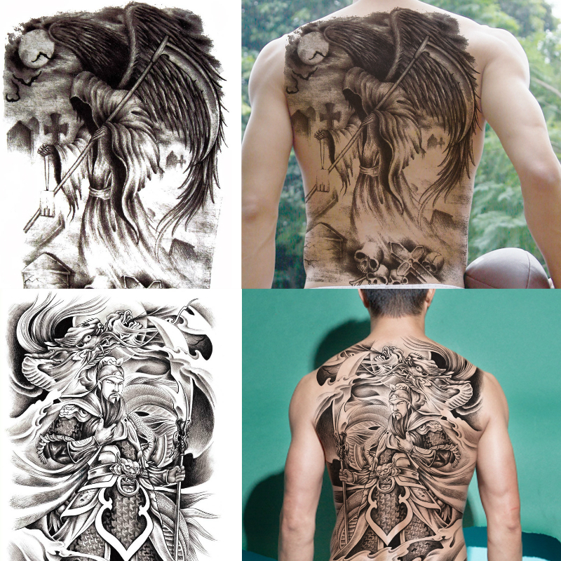 Nuevos Diseños 48 35 Cm Grande Negro Carpa Tatuajes Hombres Mujeres Impermeable Grandes Pegatinas De Tatuaje Temporal Espalda Completa Cuerpo