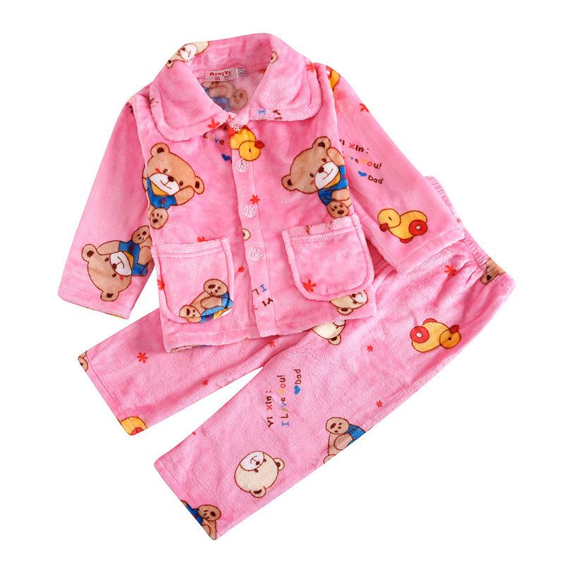 Pijamas Дети Pijama Набор Коралловый Флис Baby Boy Девушка Печати Дети Фланелевые Пижамы Младенческая Пижама Утепленные На Зиму J190508