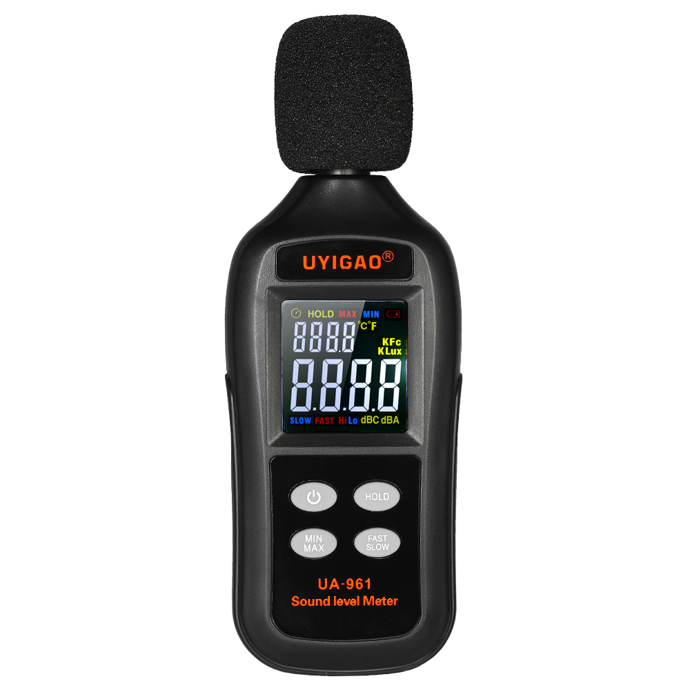 Uyigao Lcd Digital Sound Level Meter Metro Autommotive 35-135db Noise Volume Decibel Db Monitoring Tester Data Hold Function T8190619