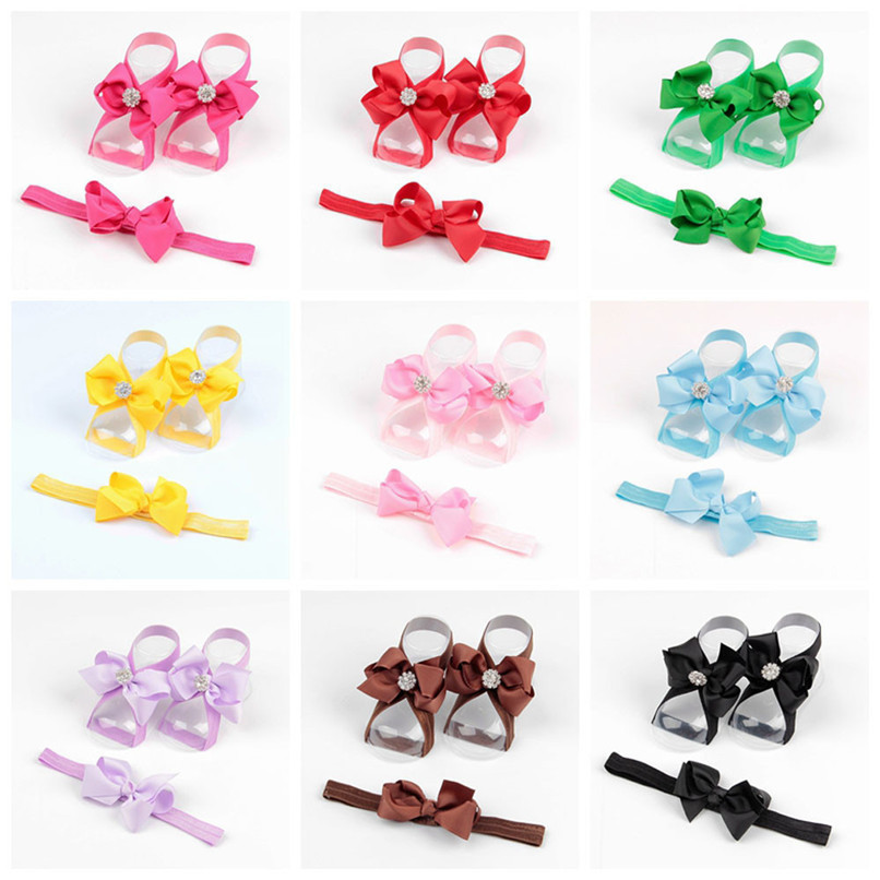 Fashion Baby Summer Beautiful Bowknot Barefoot Foot Flower Toddler Baby Foot Flower Anklet Baby Girl Sandals+Headband JE15#F (4)