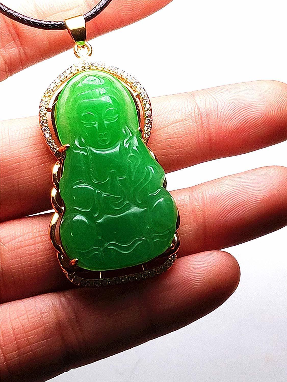 Collar de oro amarillo 3D tallado a mano de guanyin chino verde tallado a mano