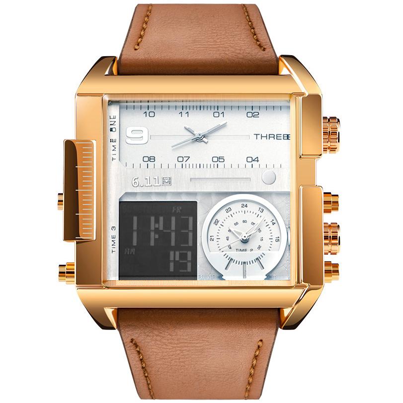 Praça dos homens de moda relógio do esporte dos homens de couro à prova d 'água relógios de quartzo data masculino led analógico duplo relógio relogio masculino