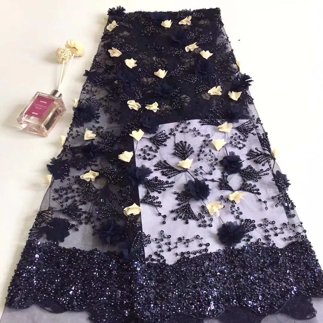 Blue Melody Organza French Laces Fabric 3D Sequins Flower embroidery African Lace Fabrics High Quality 2018 For Wedding T3107