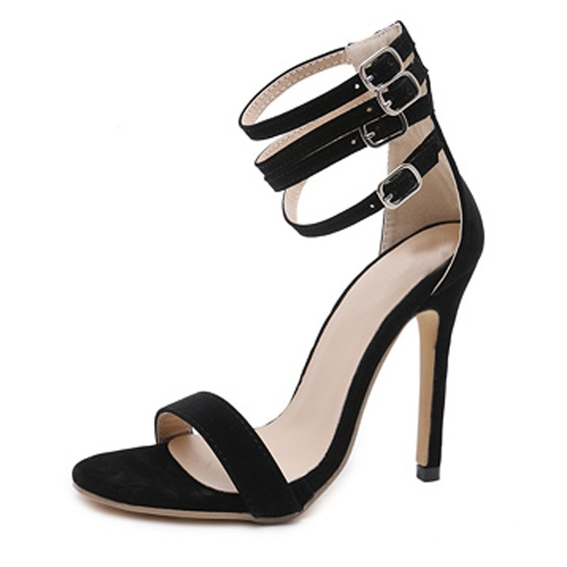 Summer High Heels Sandals Gladiator Women Sexy Peep Toe Ankle Strap Pumps Shoes Ladies Black Red Stiletto Party Sandals Zapatos