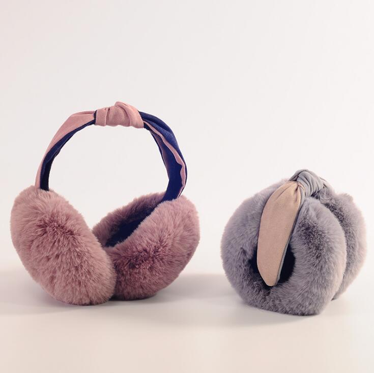 Halloween Twisted Skull Winter Earmuffs Ear Warmers Faux Fur Foldable Plush Outdoor Gift