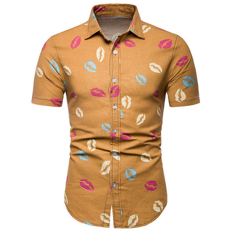 4fc062ad1c0b Mens Beach Hawaiian Shirt Tropical Summer Short Sleeve Shirt Men Brand  Clothing Casual Loose Cotton Button Down Shirts Plus Size