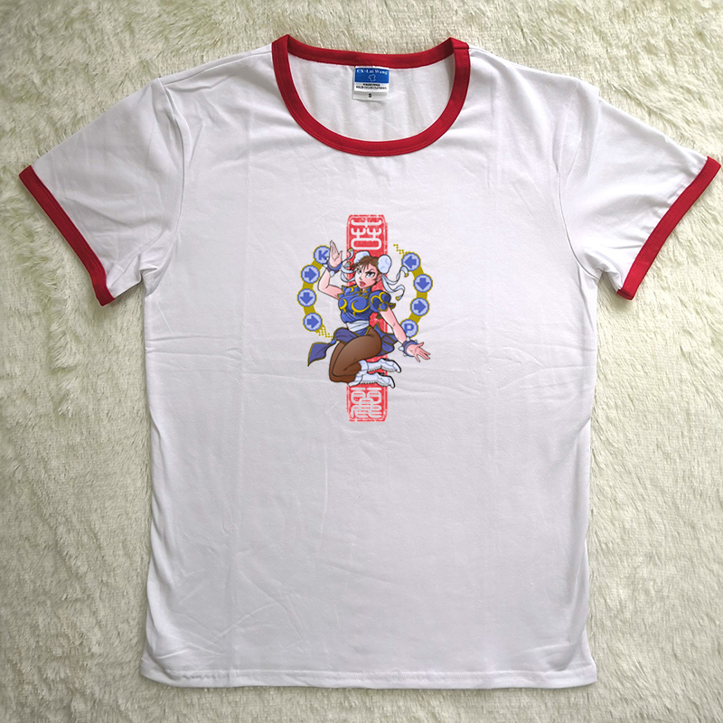 Hillbilly J-1423 T-shirt Creative Cartoon Image Game Peripheral Printing Ladies T-shirt Funny Ladies Round Neck Polyester Shirt