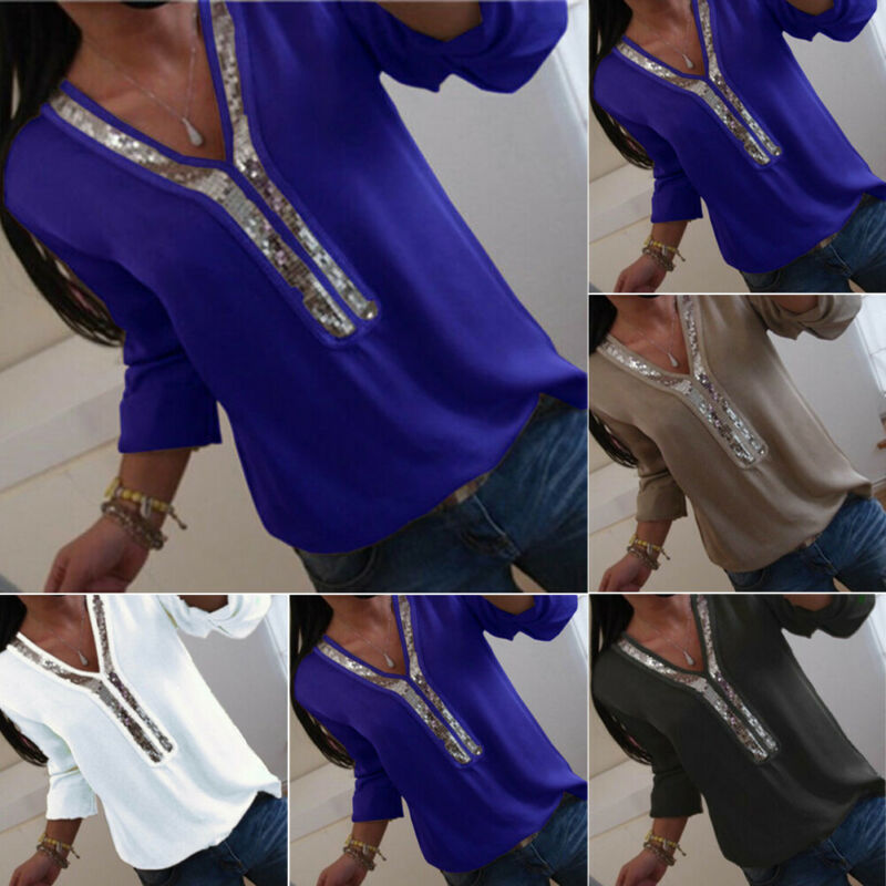 UK Plus Size Womens Summer V Neck Loose Tee Shirts Blouse Ladies Gradient Tops