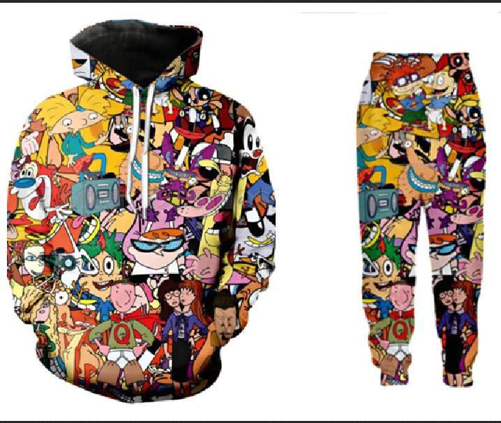 Fashion Sweats à Capuche Cartoon Animal Imprimé Pull-over Pocket Hoodies S-6XL Tableau Des Tailles