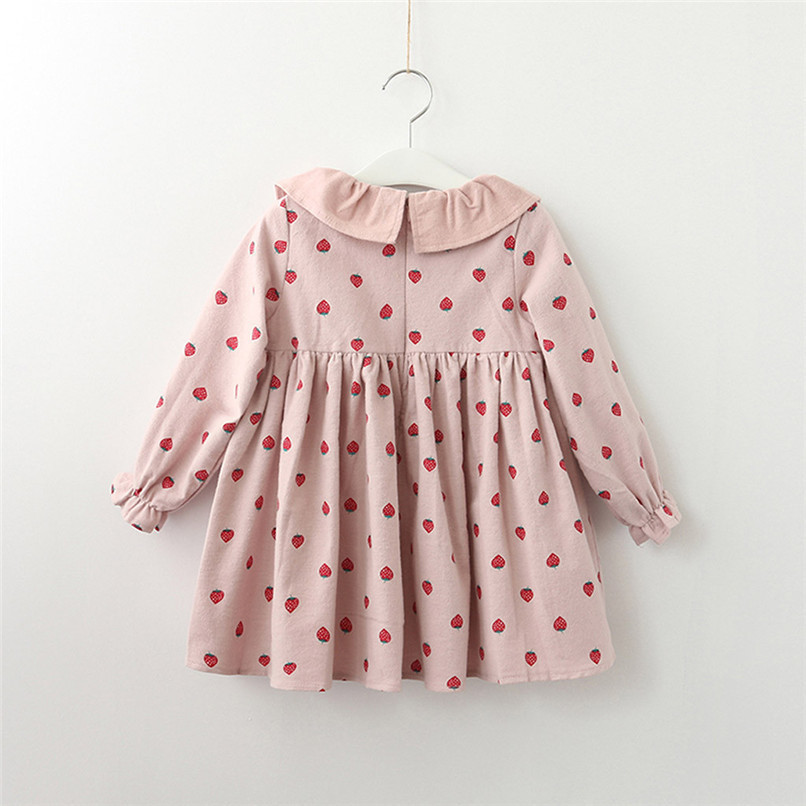 Baby Girl Clothes Long Sleeve Girls Dress Toddler Baby Kids Girls Strawberry Printed Ruffles Party Princess Dress robe fille D13 (4)