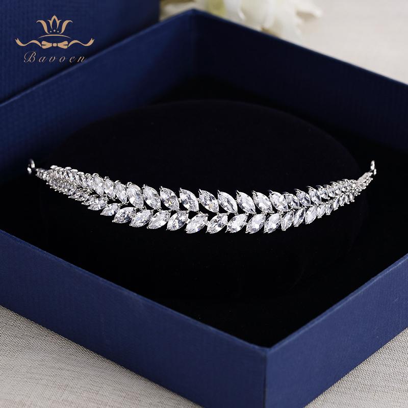 Bavoen Elegant Leaves Clear Zircon Wedding Tiaras Hairbands Crystal Brides Hair Accessories Evening Hair Jewelry Birthday Gifts Y19051302