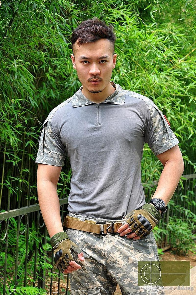 Spring Autumn Europe Russia Men Active Army Uniform Tshirt Military Training Camping Hiking Green Gray Camo Short Sleeve Pocket Tees Shirt
