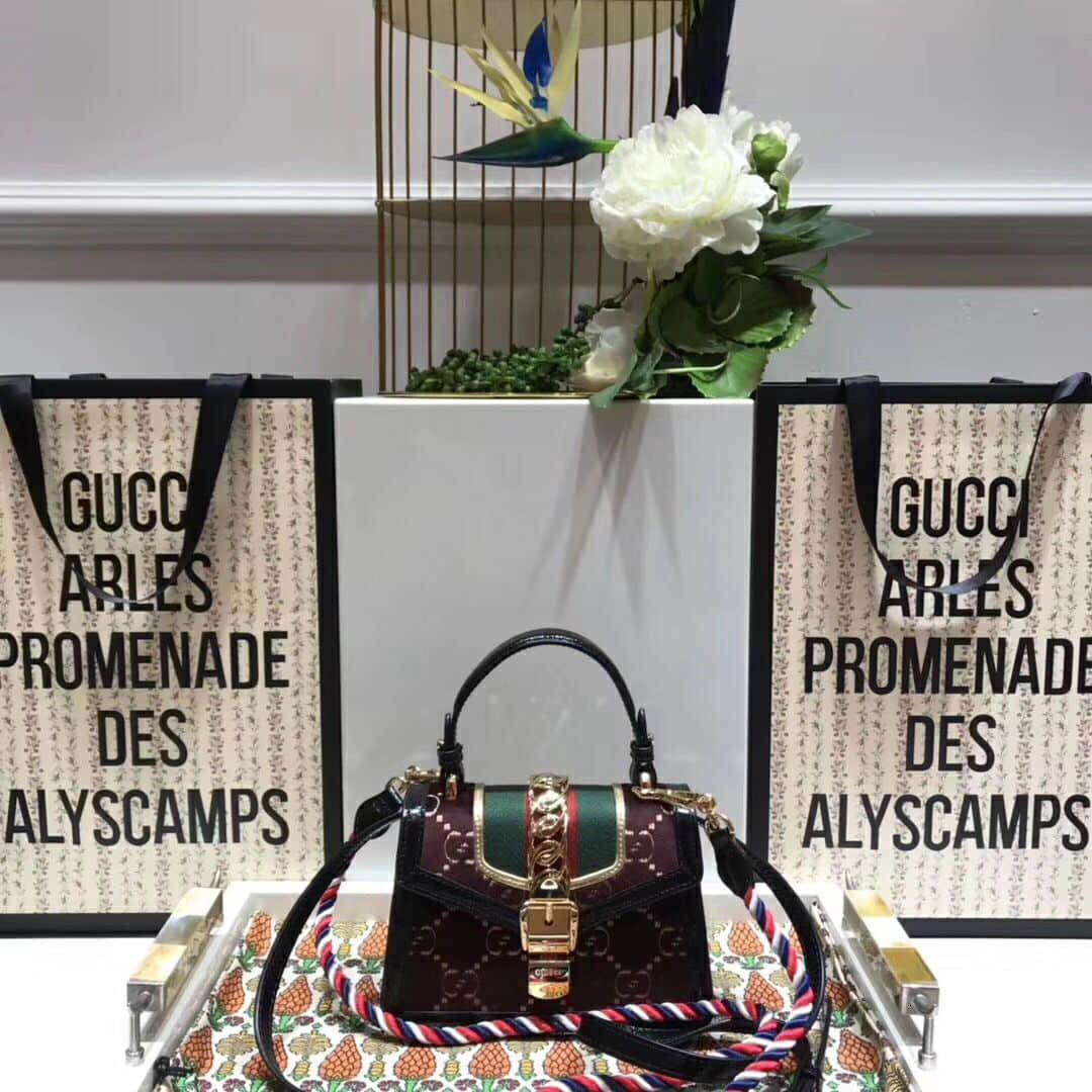 Gucci/Gucci Sylvie GG velvet mini bag 470270