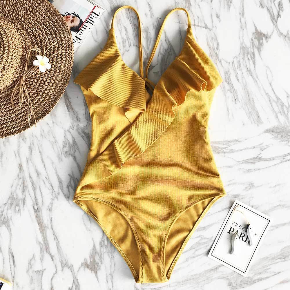 2019 Cupshe Happy Ending Yellow Solid One Piece Swimsuit Falbala V Neck  Ruffle Sexy Monokini 2019 Ladies Beach Bathing Suit Swimwear Y19051801 From