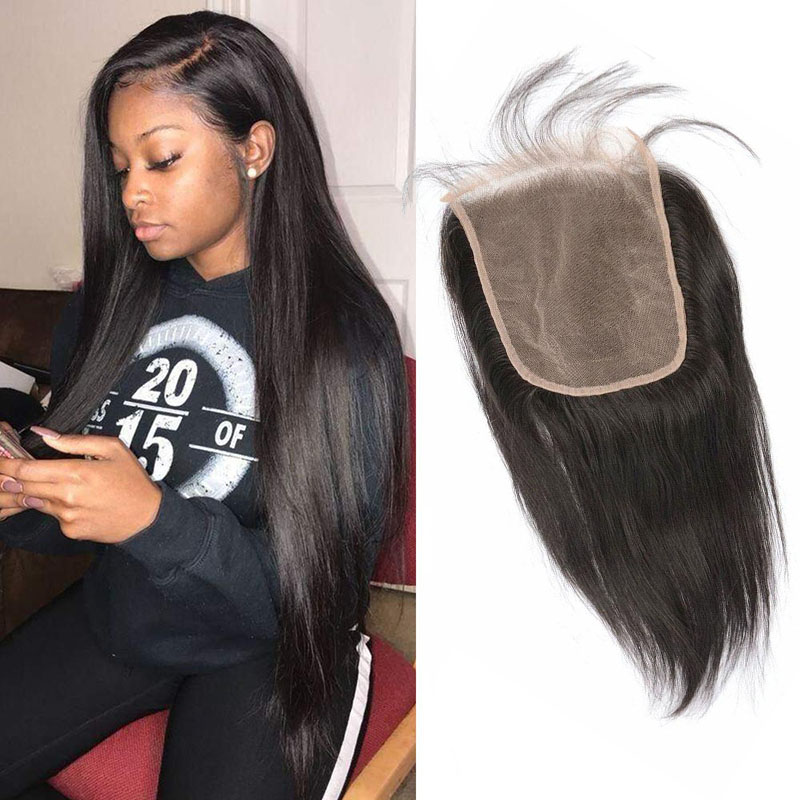 Brazilian Virgin Hair 6X6 Lace Closure With Baby Hair Six By Six Lace Closure 12-24inch Straight Body Wave Hair Products Middle Three Free