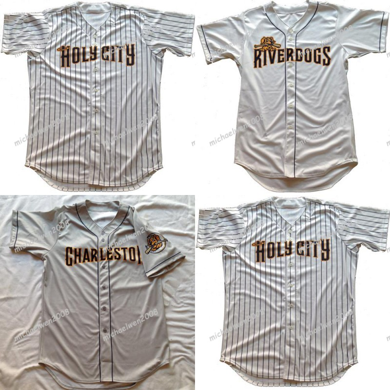 Mens Charleston RiverDogs White Grey Custom Double Stitched Shirts Baseball Jerseys High-quality Fast delivery