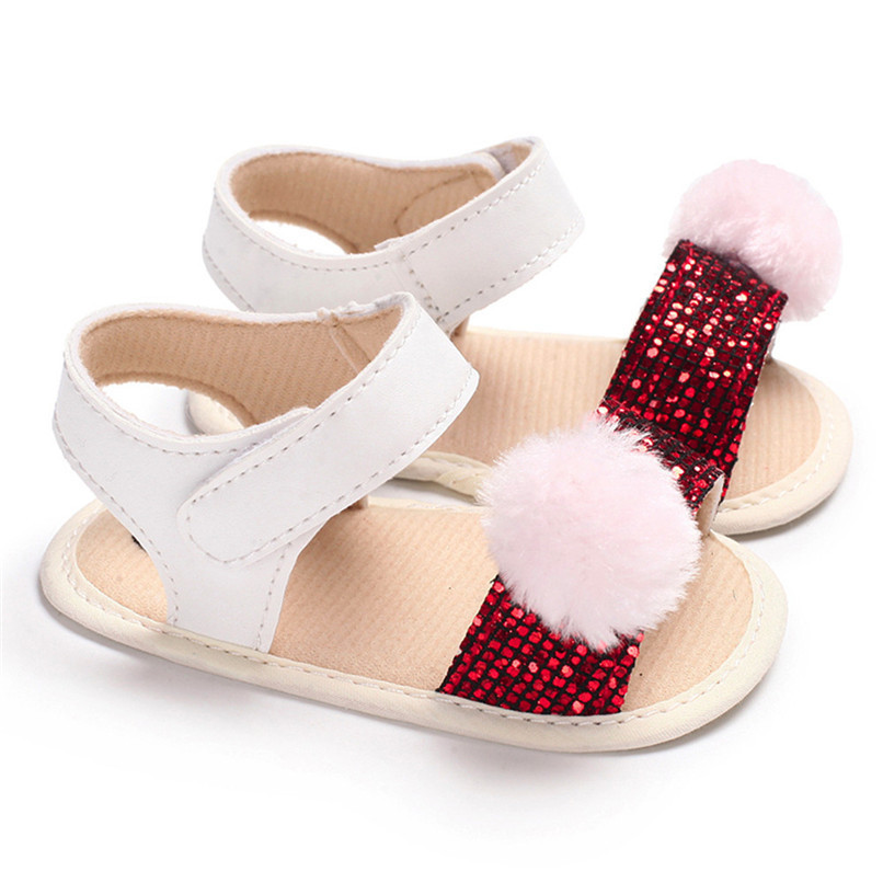 3 Color Summer Baby Girl Shoes Newborn Toddler Baby Girl Soft Ball Sequins Sandals Soft Sole Anti-slip Shoes Girl Sandals JE14#F (22)